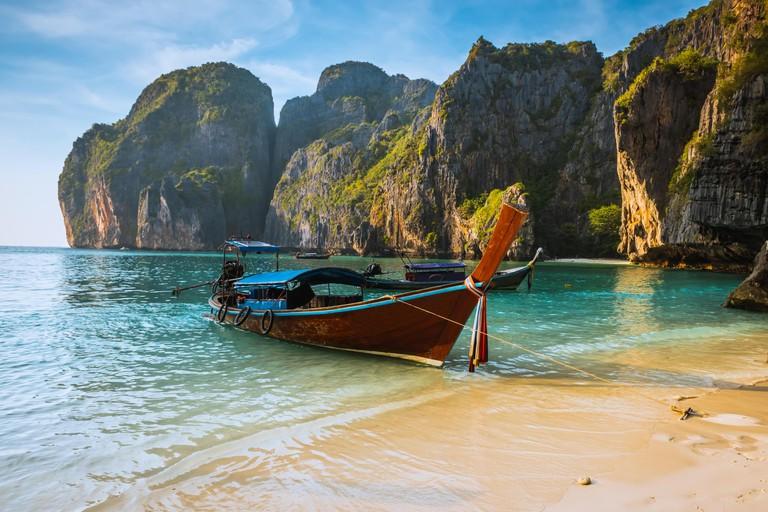 Sunset Phi phi Le island Maya bay Thailand