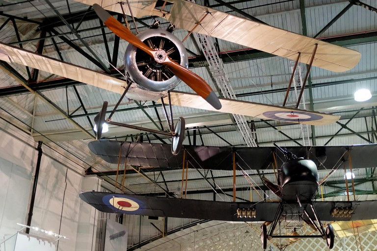 The Royal Air Force Museum London houses World War I biplanes