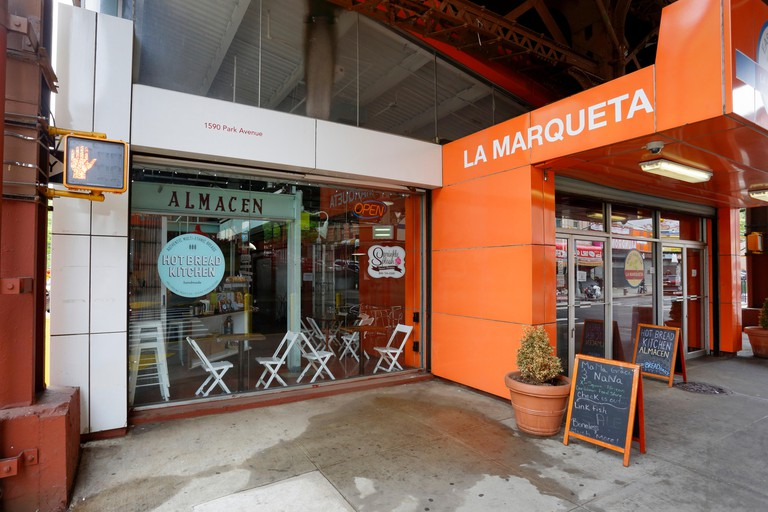 La Marqueta marketplace, 1590 Park Ave, New York, NY. exterior storefront of a food market in the East Harlem neighborhood of Manhattan.