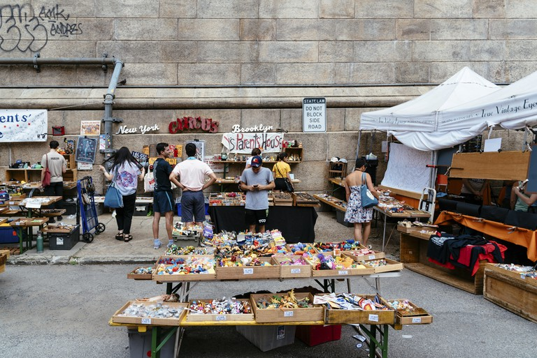 Vendors at Brooklyn Flea Market sell furniture, vintage clothing, collectables and antiques, jewelry, art, crafts and fresh food