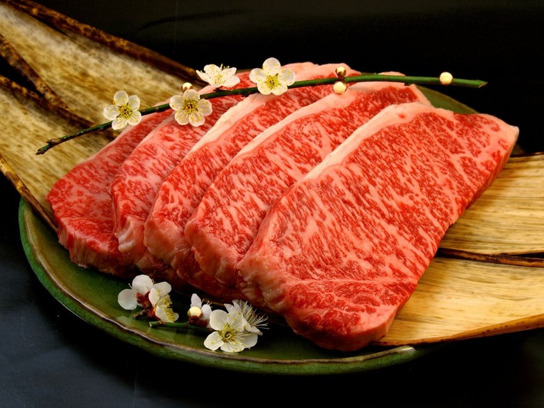 Japanese Wagyu Beef steak cuts with plum flower