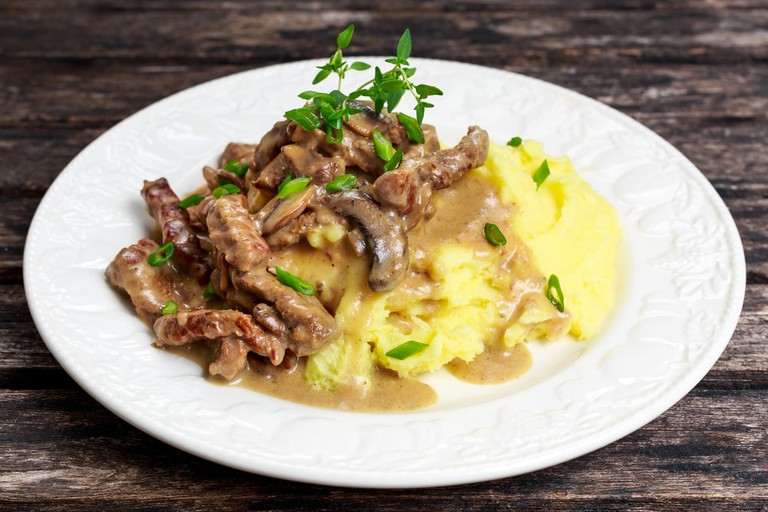 Beef Stroganoff with mashed potatoes