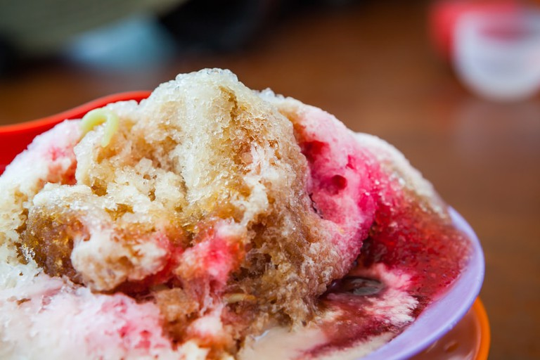 Cendol dessert with gula malacca syrup
