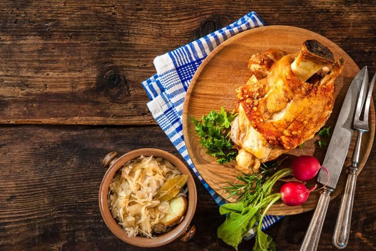 Bavarian grilled pork knuckle with sauerkraut
