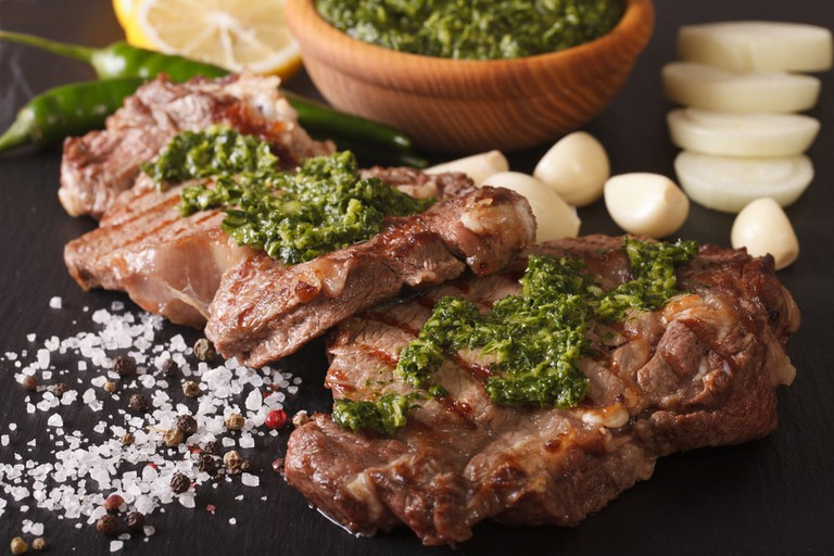 Grilled beef steak with chimichurri sauce
