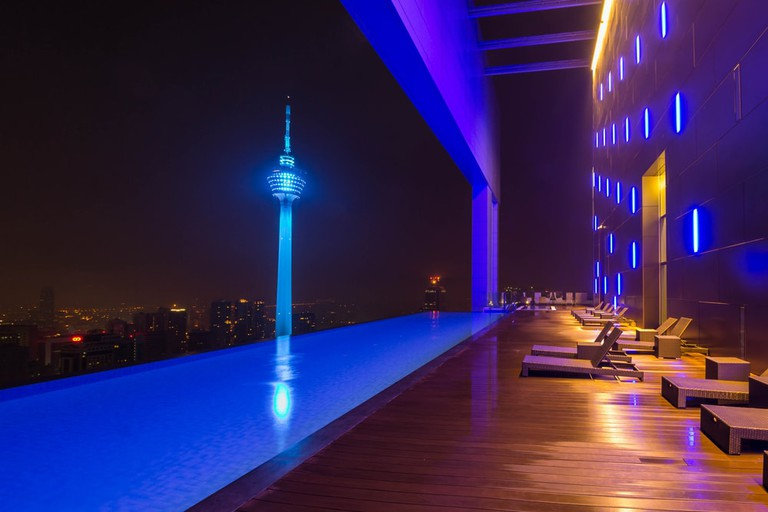 City of Kuala Lumpur and KL tower views from infinity pool