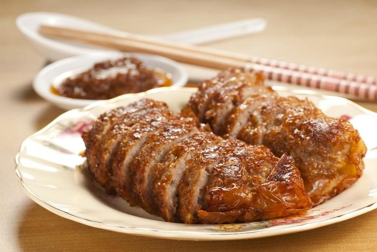 Five Spice Pork Rolls with Spicy Sambal Sauce