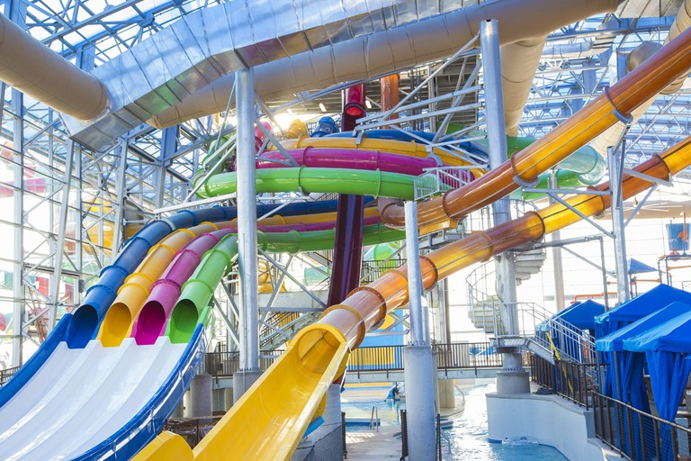 The slides at Epic Waters Indoor Water Park can be enjoyed year-round in Dallas