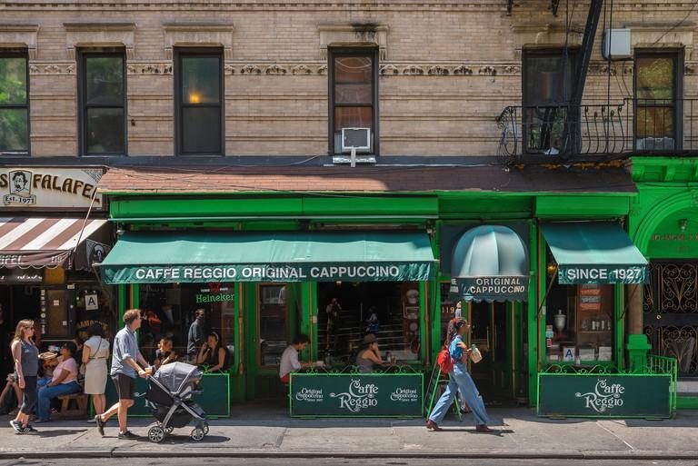 New York City, view in summer of Caffe Reggio in MacDougal Street in the center of Greenwich Village (West Village), Manhattan, New York City, USA