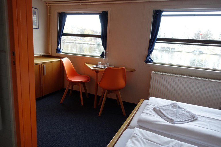 The Eastern Comfort Hostelboat offers small but comfortable rooms