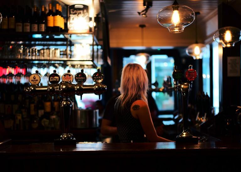 A classic pub bar