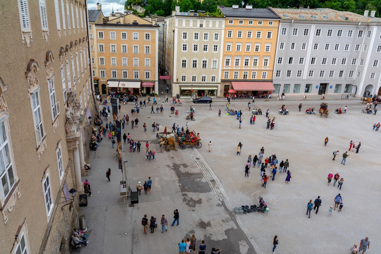 The Residenzplatz square with  DomQuartier, Salzburg's cathedral-museum complex , UNESCO world heritage in the Old Town of Salzburg, Austria.