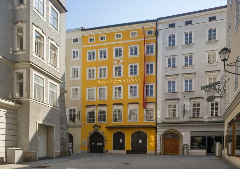 Austria, Salzburg, Mozarts birthplace in the Getreidegasse empty amid Coronavirus pandemic