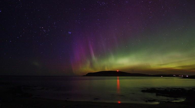 Aurora Borealis Over Quendale Bay, Shetland