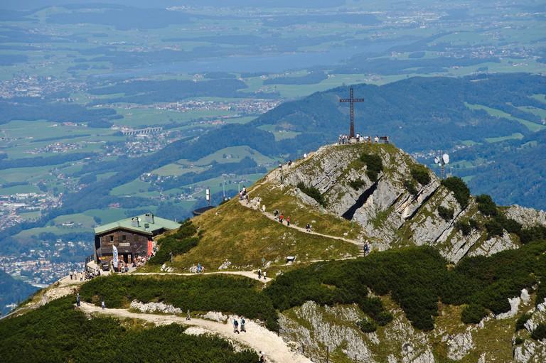 Untersberg, Geiereck and Hochalm mountain pasture as seen from Salzburger Hochthron mountain, Groedig, Salzburg, Austria, Europe