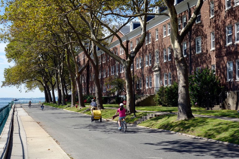riding bikes on Governors island