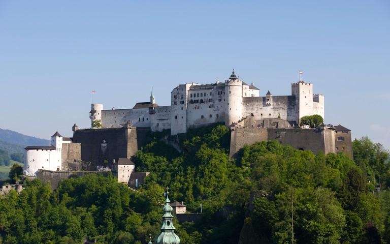 Hohensalzburg Fortress, as seen from Monchsberg, Salzburg, Austria