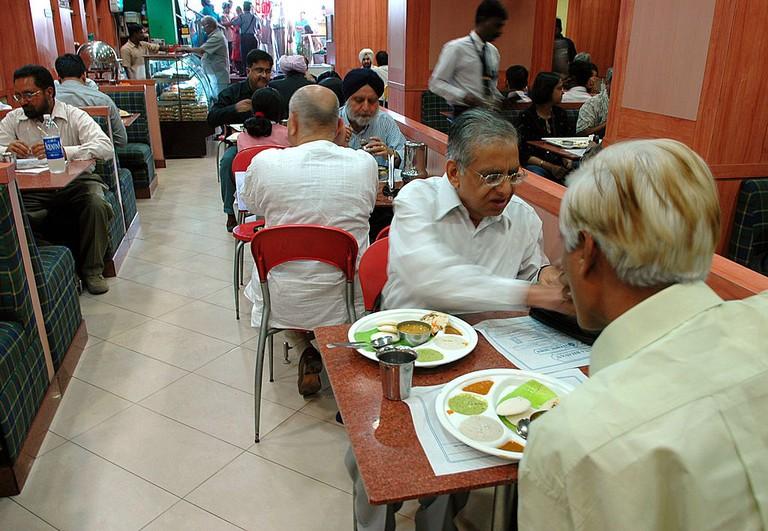 Hotel Saravana Bhavan, a South Indian food restaurant at Janpath Road in New Delhi, India