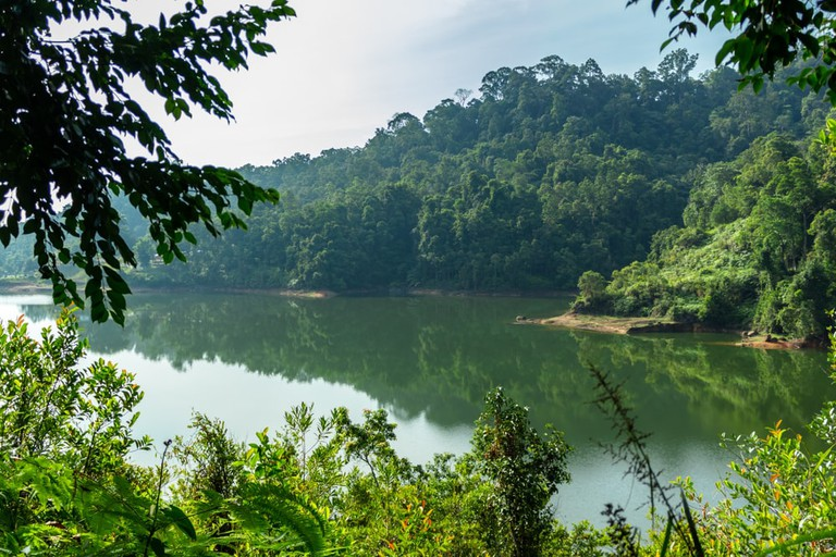 Calm lake in the morning, Air Itam Dam, Penang Island, Malaysia.