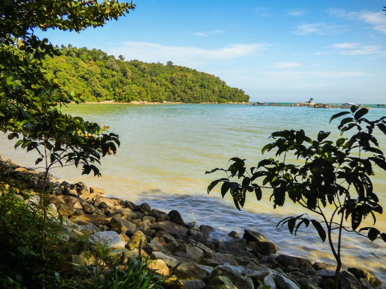 Beach near the hiking path at Penang's National Park, Penang, Malaysia.