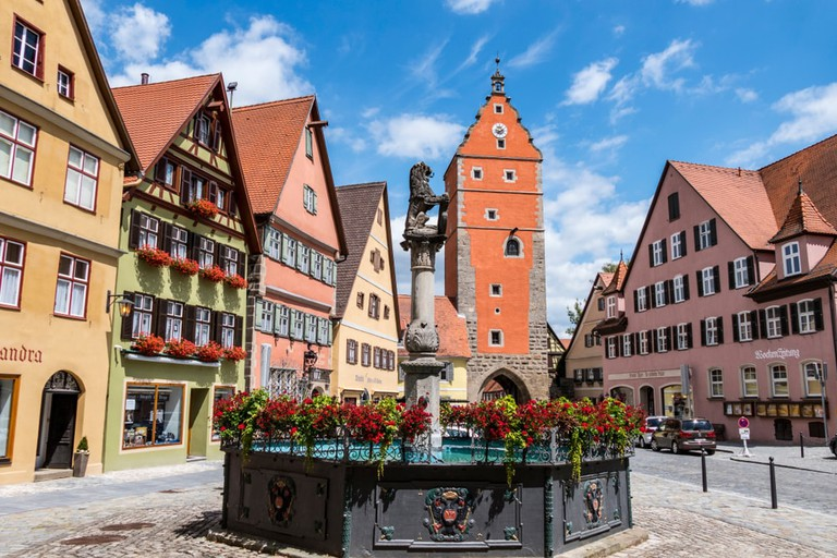 Woernitztor gate, Dinkelsbuhl, Middle Franconia, Bavaria