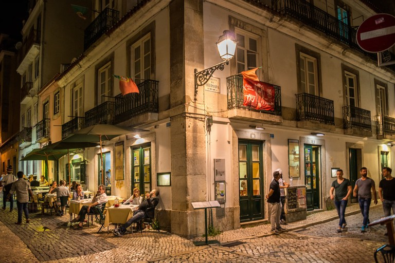 Bars and restaurants in city centre of Lisbon, Portugal.