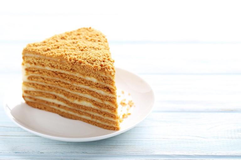 Homemade honey cake