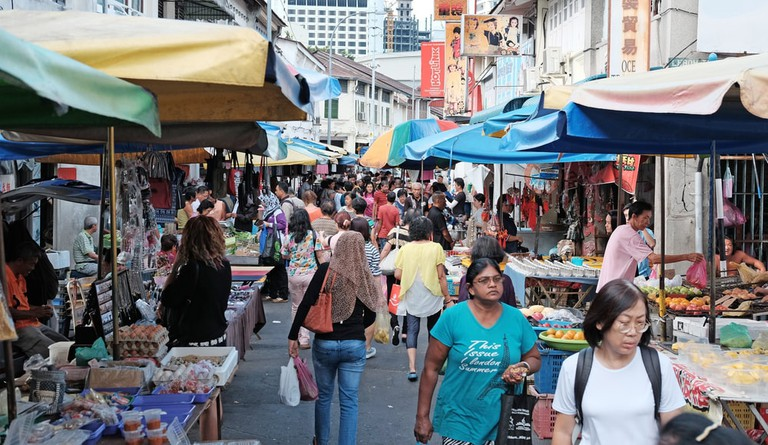 Shoppers in Chowrasta street market in Jalan Kuala Kangsar, Penang, Malaysia.