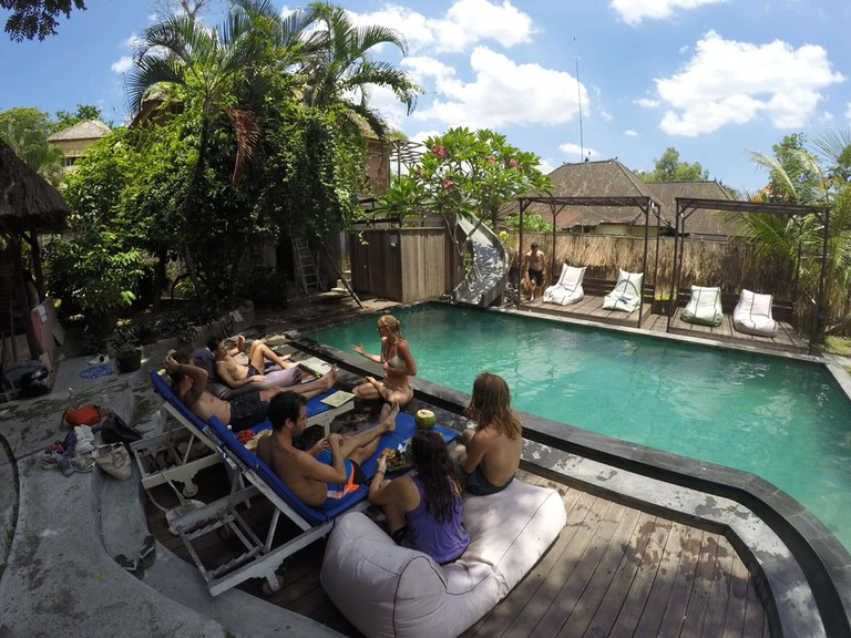 Chill and chats by the pool at the Onion Collective, Ubud.