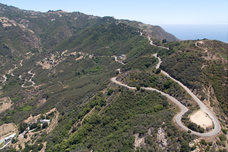 Aerial view of Mulholland Drive, Los Angeles, California
