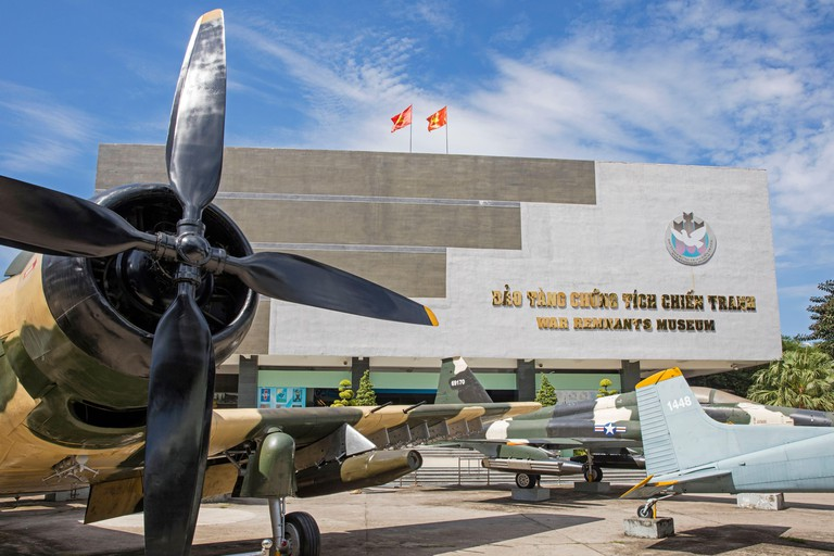 War planes in front of the War Remnants Museum relating to the First Indochina and Vietnam War in Ho Chi Minh City, District 3, former Saigon, Vietnam