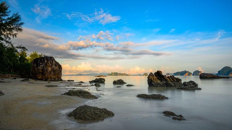 Long exposure Photograph in the morning at Tub Kaek Beach, Krabi, Thailand
