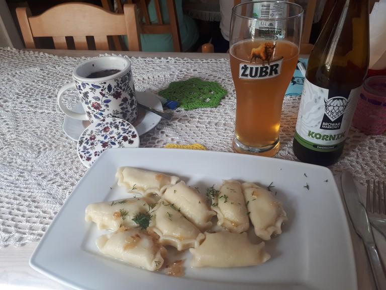 Pierogi at Gospoda Pod Żubrem, Białowieża   © Northern Irishman in Poland