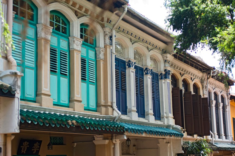 Colourful Residence with Brightly Painted Shutters on Emerald Hill Road, Singapore.