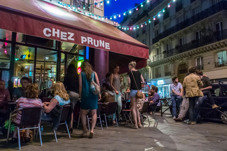 Paris, France, Young People Relaxing Parisian street cafe scene,Chez Prune in the Canal Saint Martin Area,