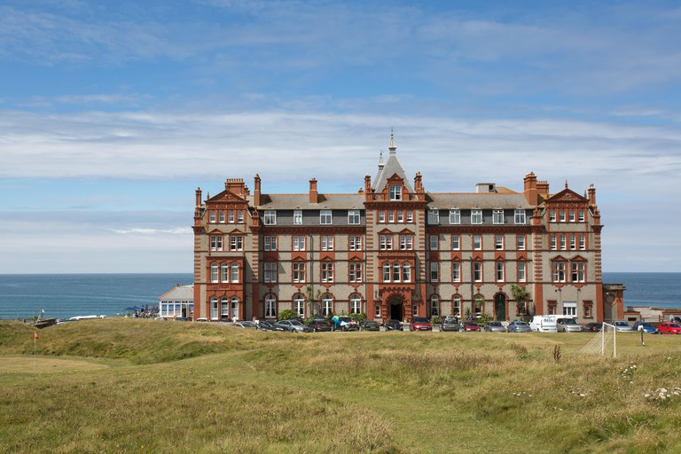 The Headland Hotel in Newquay, Cornwall, Uk. Image shot 2016. Exact date unknown.