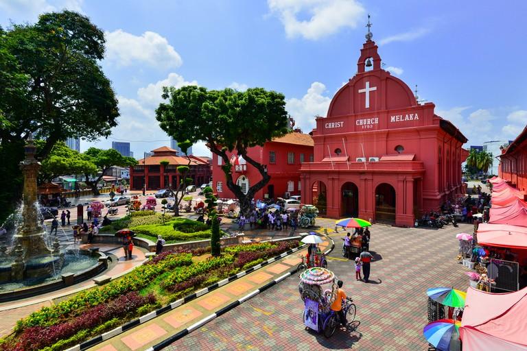 Christ Church & Dutch Square in Malacca City, Malaysia.
