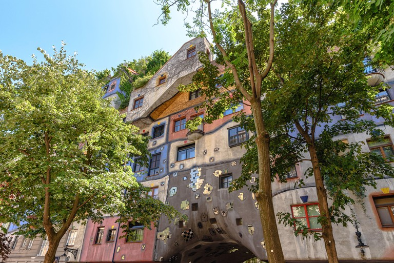 The Hundertwasserhaus during the day in Vienna, Austria