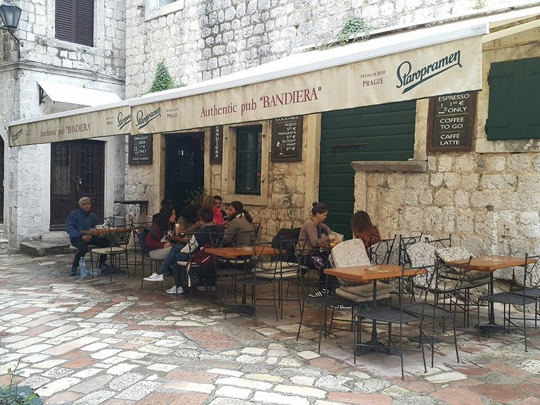 A relaxed scene at Bandiera in Kotor, Montenegro