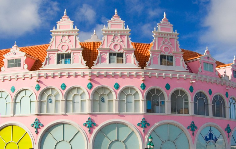 Traditional colourful Buildings in downtown Oranjestad