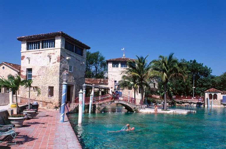Venetian Pool in Coral Gables, Miami. The Venetian Pool is an 820,000-gallon swimming oasis