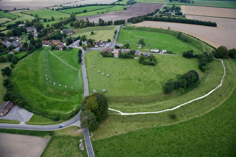 Aerial view of Avebury stone circle and village