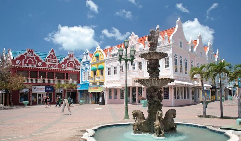 Fountain in the outdoor plaza, Oranjestad, Aruba.
