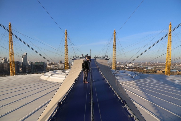 Up at the O2, high level walkway over the Millennium Dome, London