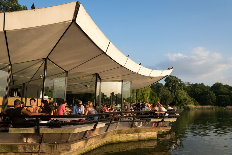 The Serpentine Bar & Kitchen on the edge of the Serpentine in Hyde Park, London.