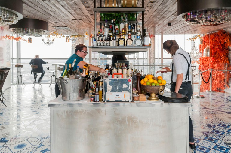 United Kingdom, London, the City, Duck & Waffle restaurant in Heron Tower