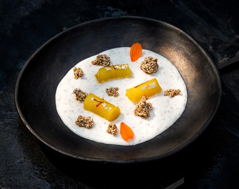 Saffron Pear Petha, rice kheer, pecan candy.