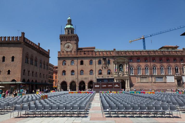 Outdoor cinema in Piazza Maggiore Bologna, Italy.