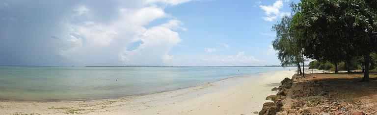 The white, sandy shores of Mbezi Beach