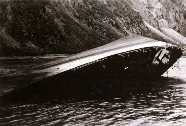 A German warship being sunk in Narvik during World War II
